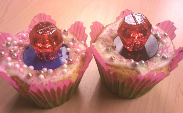 These Bling Ring cupcakes - decorated with Ring Pops and Sugar Pearls - would be perfect for a girly tea or princess party.