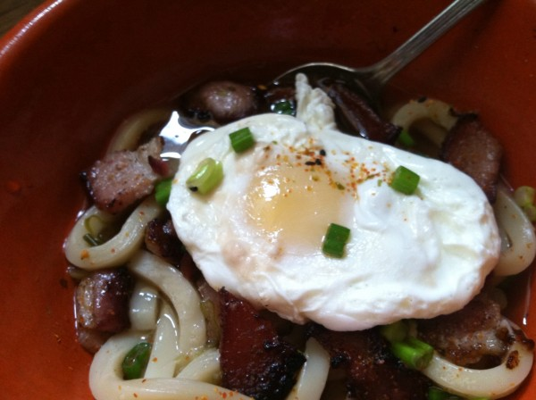 It's easy to turn leftover udon or ramen into Breakfast Noodles.