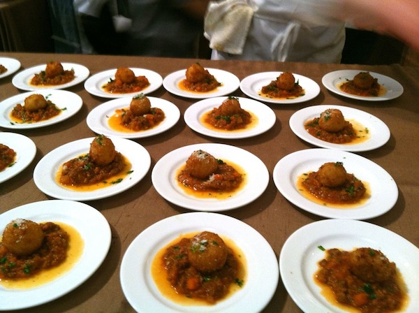 Richard Reddington's warm and fragrant arancini rested atop a lamb Bolognese sauce.