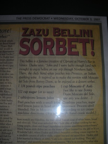 I spotted this Bellini Sorbet recipe on the wall at Zazu Restaurant in Santa Rosa.